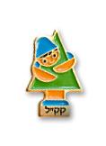 tubishvat main - סיכת דש ילד חובק עץ - מוזהבת